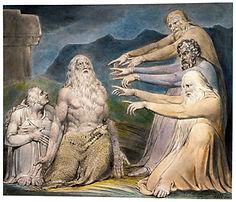 Imagem de 5 homens, representando Jó e os amigos que culpavam por suas desgraças.