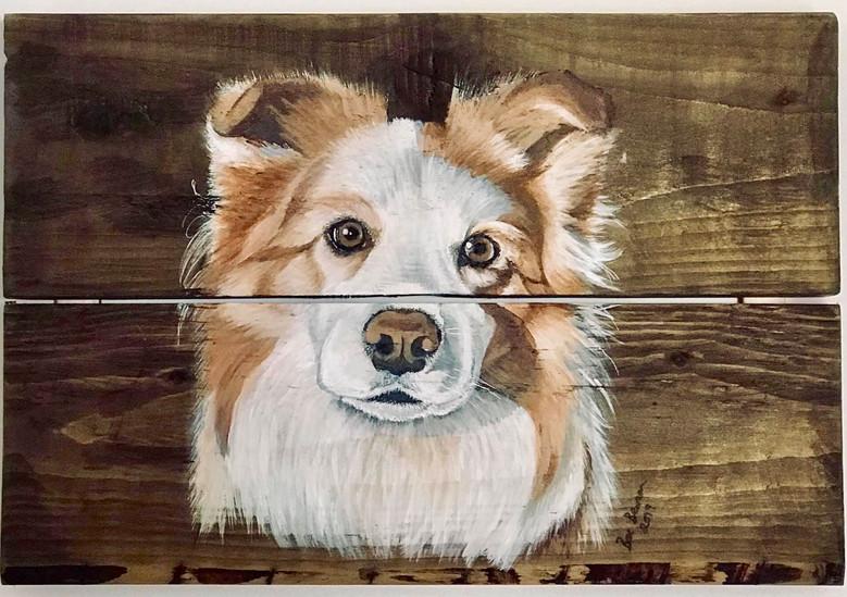 Wooden slates acrylilc painting