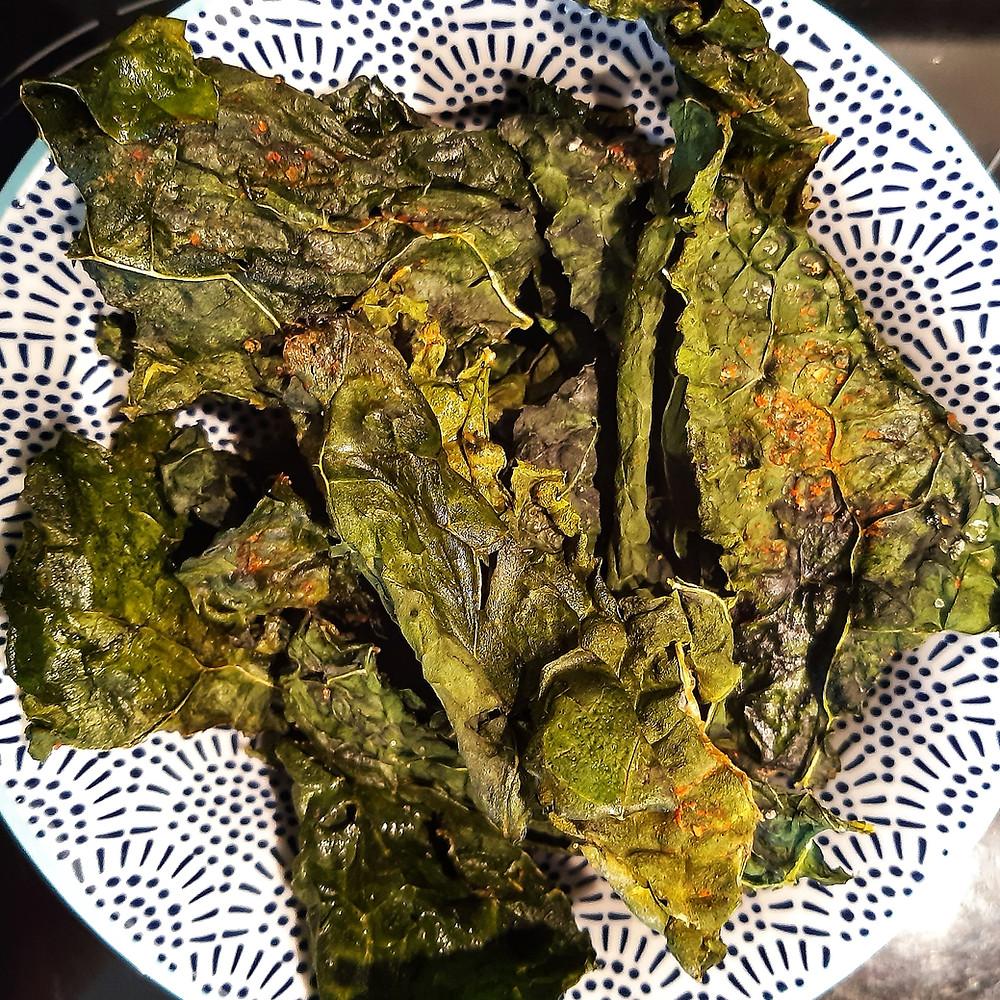 Kale crisps seasoned with Yaffle House Sweet Chilli Vinegar