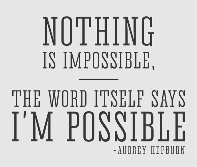 Nothing+is+Impossible+Audrey+Hepburn+Quote+Wall+Decal