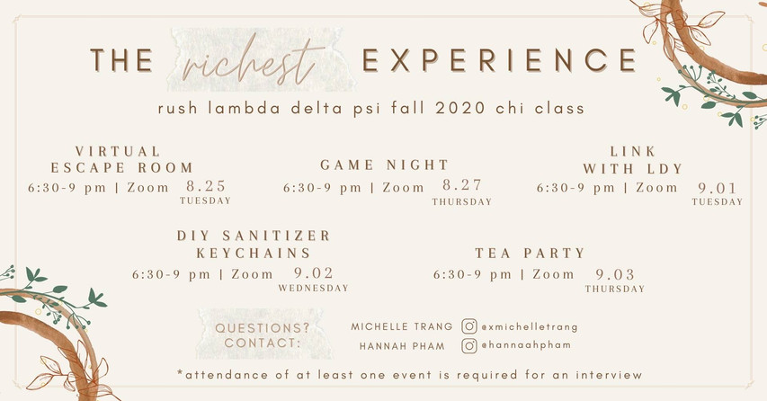 """Fall '20: """"The Richest Experience"""""""