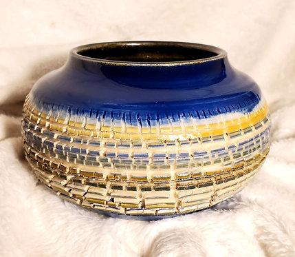Orange & Blue Crackle Vase