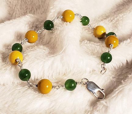 Yellow Mookaite & Jade Sterling Silver Bracelet