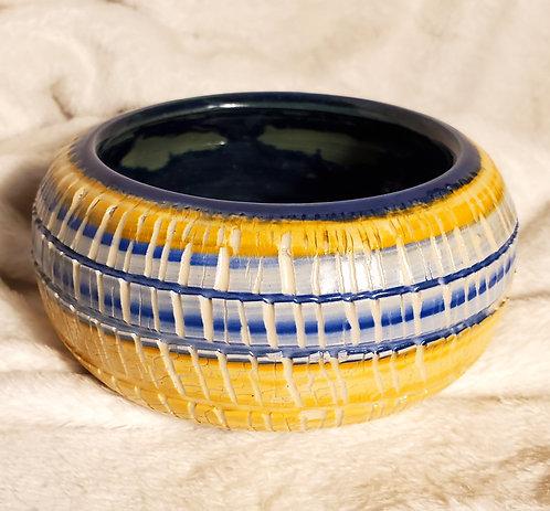 Orange & Blue Crackle Pot