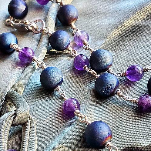 Amethyst & Druzy Agate Sterling Silver Bracelets