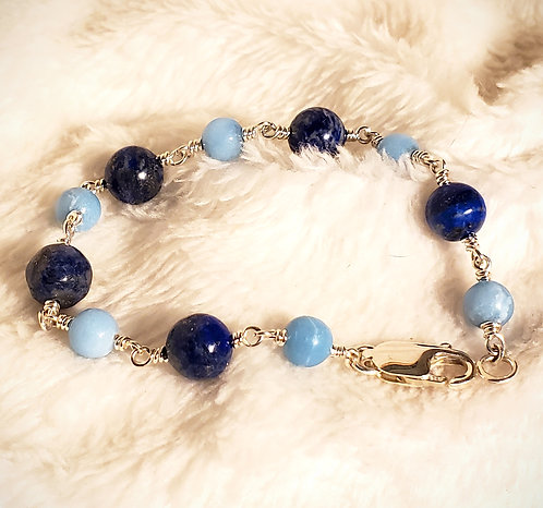 Lapis Lazuli & Larimar Sterling Silver Bracelet