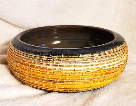 Black & Orange Crackle Bowl