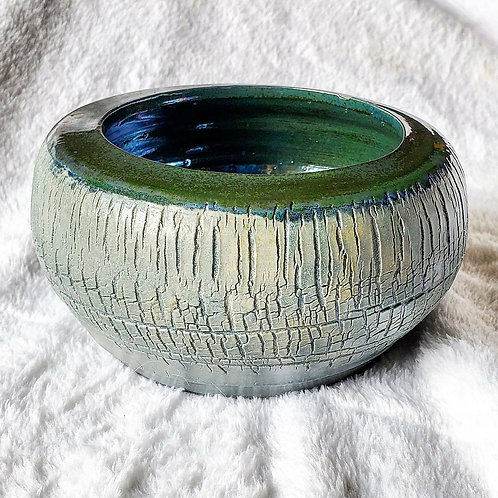 Ice Blue and Green Crackle Pot