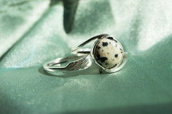 Dalmation Stone Silver Ring and Feather Silver R