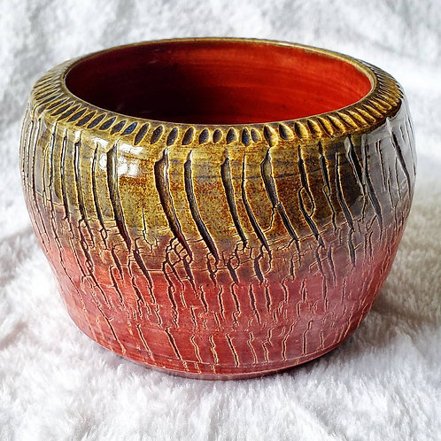 Red and Tan Crackle Flower Pot
