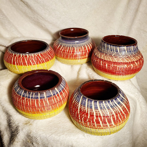 Small Sunset Crackle Pots