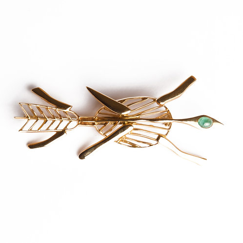 1963 Georges Braque Emerald Gold 'Philocthetes' Brooch