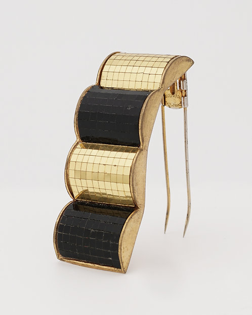 "René Boivin ""Les Irradiantes"", Gold and Black Mirrored Mosaic Brooch, circa 1930"