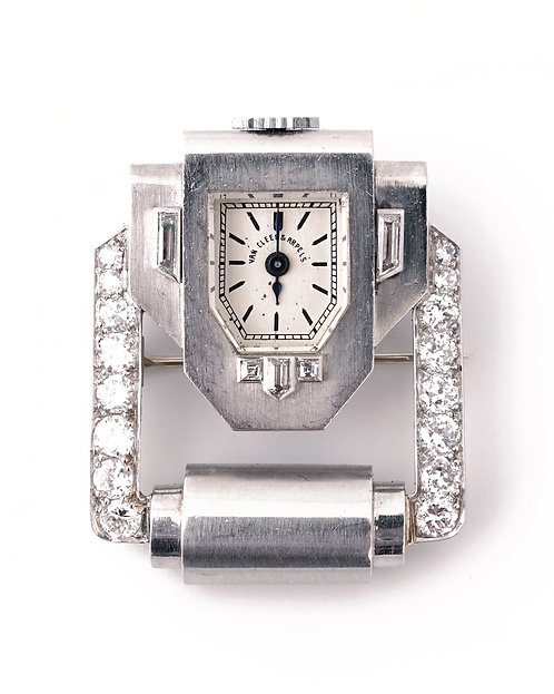 C1925 Van Cleef & Arpels, Verger Frères Art Deco Platinum & Diamond Brooch Watch