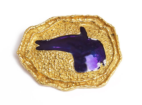 "1963 Georges Braque ""Areion"" Blue Enamel Gold Brooch"