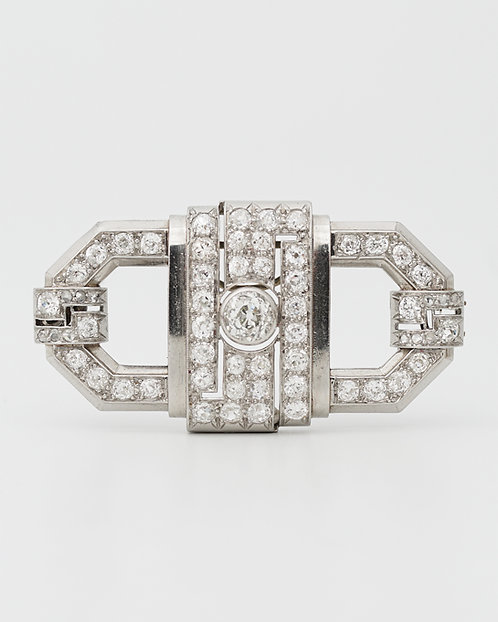 A French Art Deco White Gold and Diamond Brooch, C. 1930