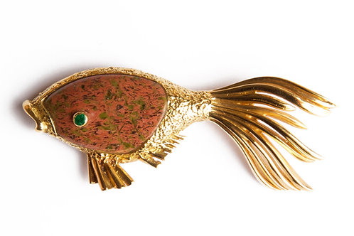 1963 Georges Braque Gold and Jasper Deiphobe Brooch