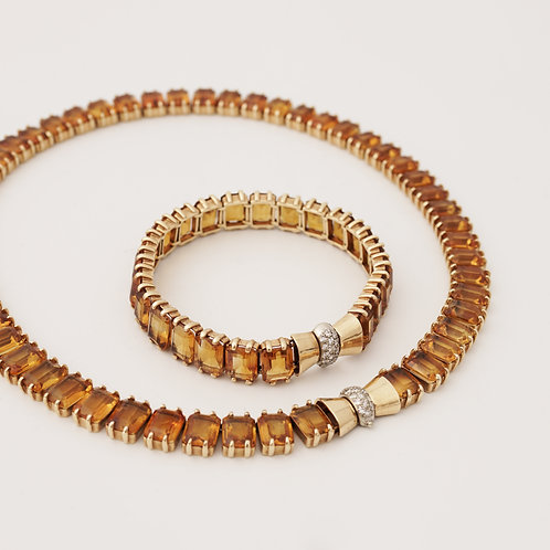Cartier, New York, A Citrine and Gold Demi-Parure, circa 1940