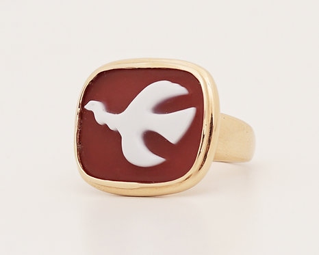 1963 Georges Braque Gold and Cornelian Mounichos Cameo Ring