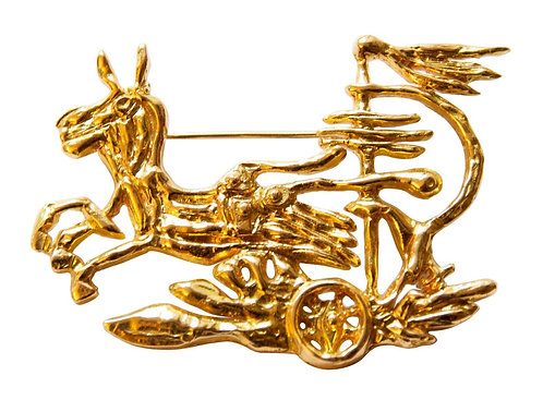 "1963 Georges Braque ""Medea's Chariot"" Gold Brooch"