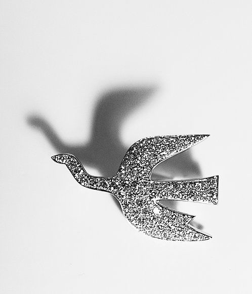 "1963, Georges Braque ""Zephir Icarios"" 18K White Gold and Diamonds Brooch"