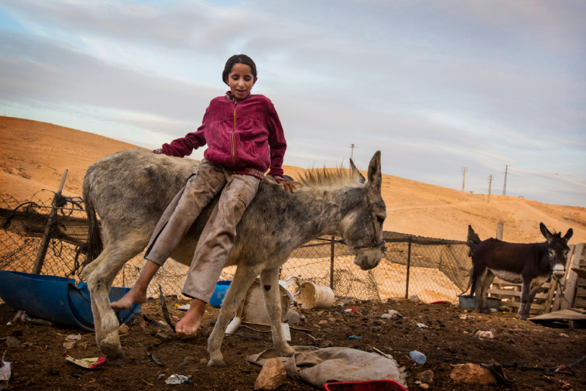 Iman Dahouk finds amusement atop the family donkey. She lives with her family in a Bedouin compound in the West Bank.