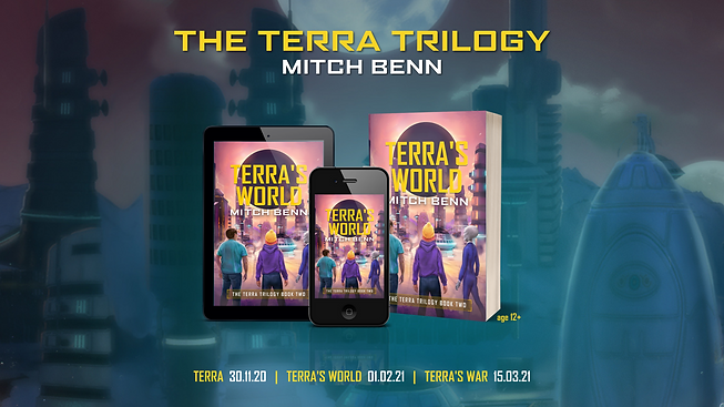The cover for Terra's World, book two in the trilogy, on a phone, tablet and paperback. It's Terra, Billy and Fthfth looking out over an alien city with a black planet looming in the sky.