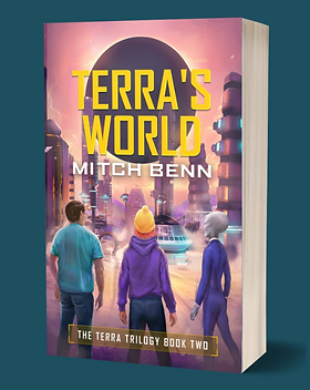 A graphic of the Terra's World paperback, showing Terra, and her friends Billy and Fthfth looking out over an alien city with a looming back planet in the sky