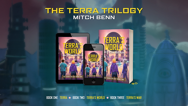 Cover of Terra's World on a paperback, tablet and mobile phone