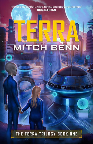 Front cover for Terra - a little girl holding hands with an adult alien, looking out across an alien city