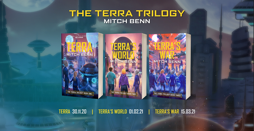 All 3 Terra Trilogy books as 3D paperbacks in a row