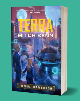 A paperback 3D image of the Terra book - a little girl is holding hands with an adult alien and looking out across an alien city