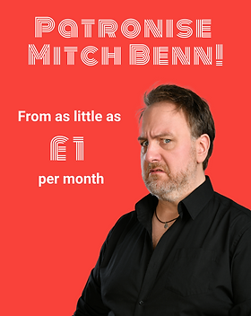 Patronise Mitch Benn - a portrait of Mitch with a link to his Patreon page