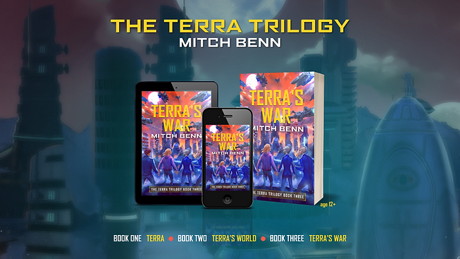 Cover of Terra's War on a paperback, tablet and mobile phone