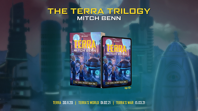 Terra book cover on a 3D paperback and tablet, against a backdrop of an alien city
