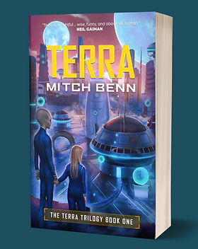 A graphic of the Terra paperback, which is a human child, holding hands with an adult alien and looking across at an alien city