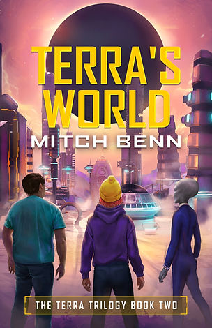 Cover for Terra's World, book two in the Terra Trilogy. It shows Terra and her friends Billy and Fthfth looking out over an alien city, with a black planet looming in the sky.