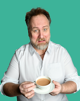 Portrait of Mitch wearing a white shirt and holding a cup of tea with a silly look on his face, and link to author media kit page, against a sea blue/green background