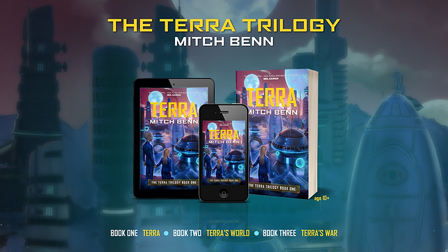 Cover of Terra on a paperback, tablet and mobile phone