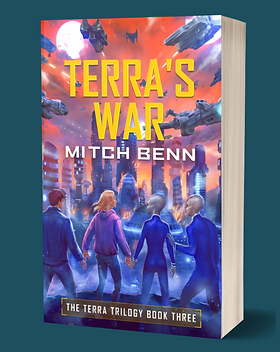 Cover of Terra's War - Terra, Billy, Fthfth and Pktk standing in front of a burning alien city with spaceships overhead