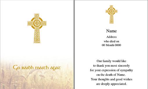 D&S Memorials Acknowledgment Card