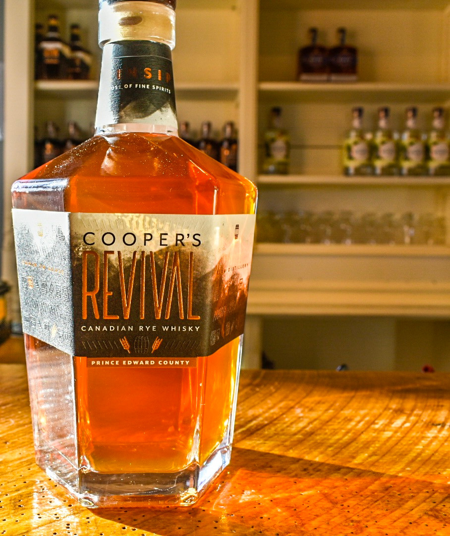 Cooper's Revival is a bold, spicy Canadian rye aged in recoopered red wine barrels and blended for sipping straight or elevating craft cocktails. Kinsip House of Fine Spirits is home to one of the very few cooperages left in Canada. This distinctive rye has a caramel, grassy nose with a buttery, leather spice on the palate including hints of black fruit and a warm, earthy finish.