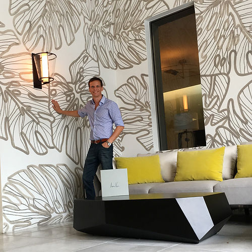 Monstera leaf mural by Miami based abstract artist Austin Kerr at Holly Hunt showroom in the Miami Design District