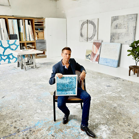 Miami Abstract artist Austin Kerr in his art studio press page