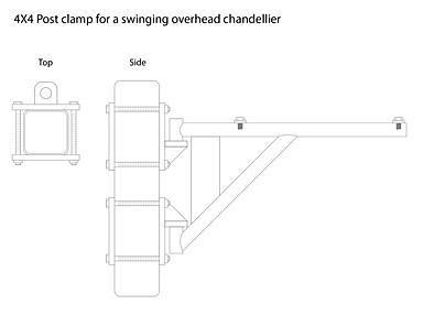 Illustrator layout of 4x4 clamp for hanging a moveable chandellier.