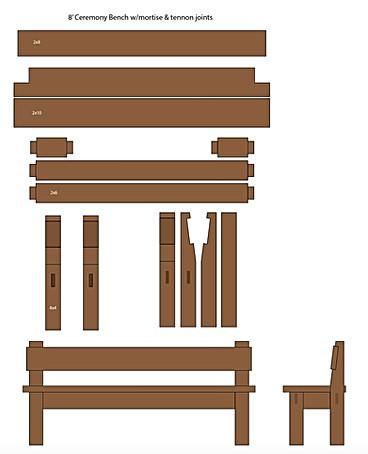 Illustrator layout of 8' ceremony bench.