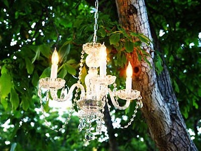 Chandelier rental for an outdoor wedding
