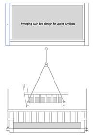 Illustrato layout of hanging swing bed under new pavillion.