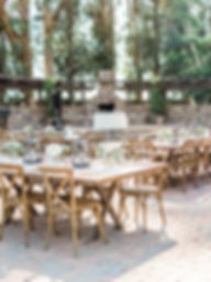 wooden wedding tables set up beautiful