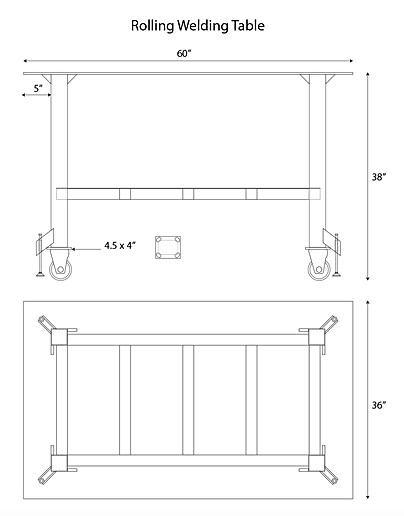 Illustrator layout of rolling welding table.